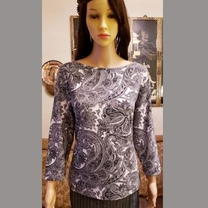 *Just In*STYLE & CO. -Paisley Print 3/4 Sleeve Top